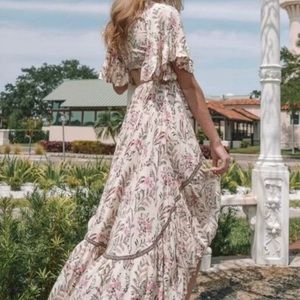 Dresses - Boho Floral Print Deep V Tie High/Low Dress